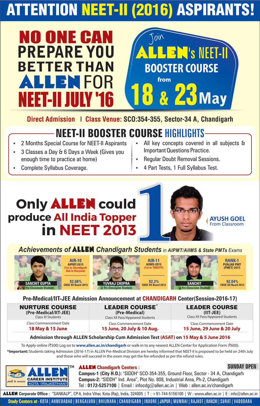 NEET-UG II 2016 CRASH COURSE - ALLEN Career Institute, Chandigarh